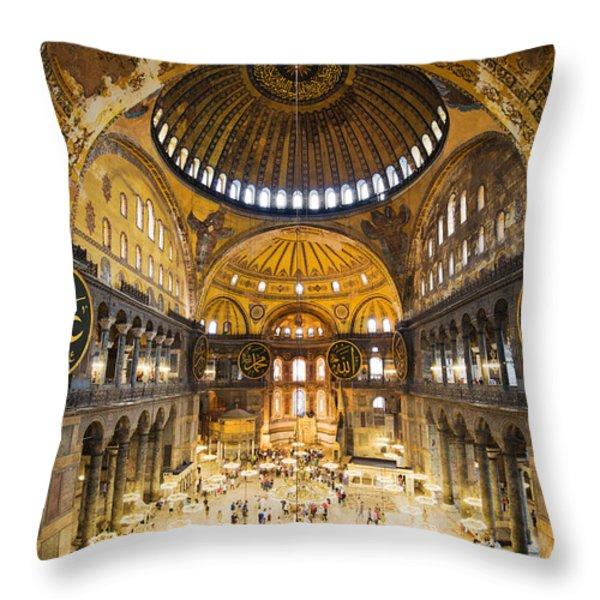 Hagia Sophia Interior Throw Pillow by Artur Bogacki