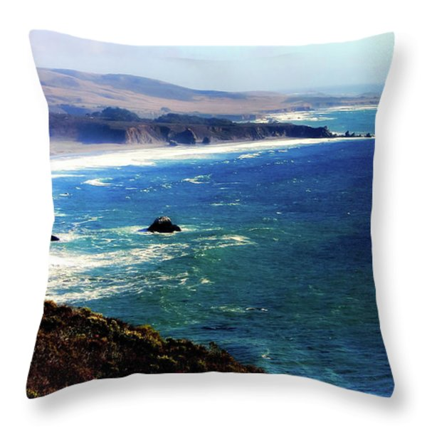 Half Moon Bay Throw Pillow by Karen Wiles