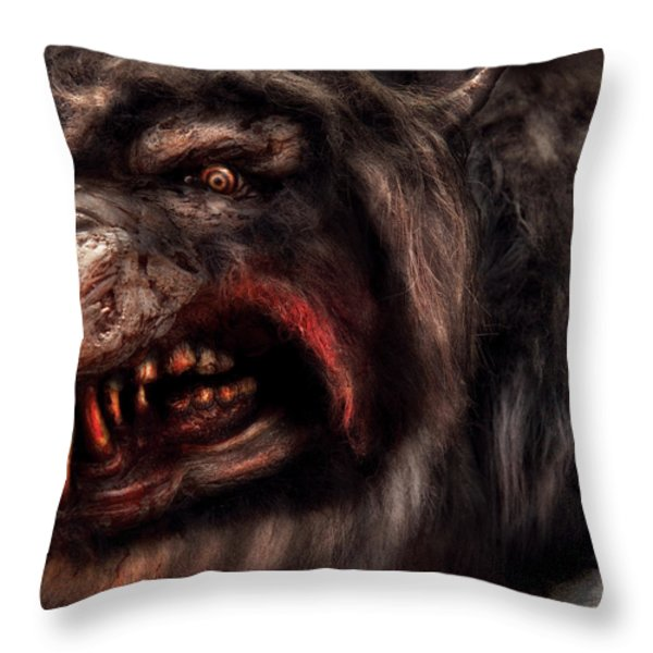 Halloween -  Mad Dog Throw Pillow by Mike Savad