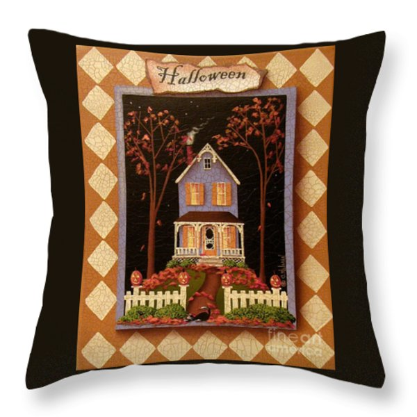 Halloween Hill Throw Pillow by Catherine Holman