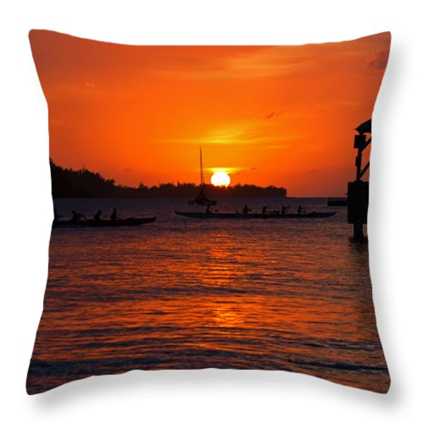 Hanalei Sunset Throw Pillow by Mike  Dawson