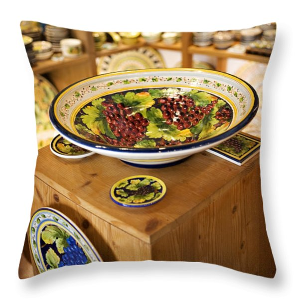 Hand Painted Dishes Throw Pillow by Marilyn Hunt