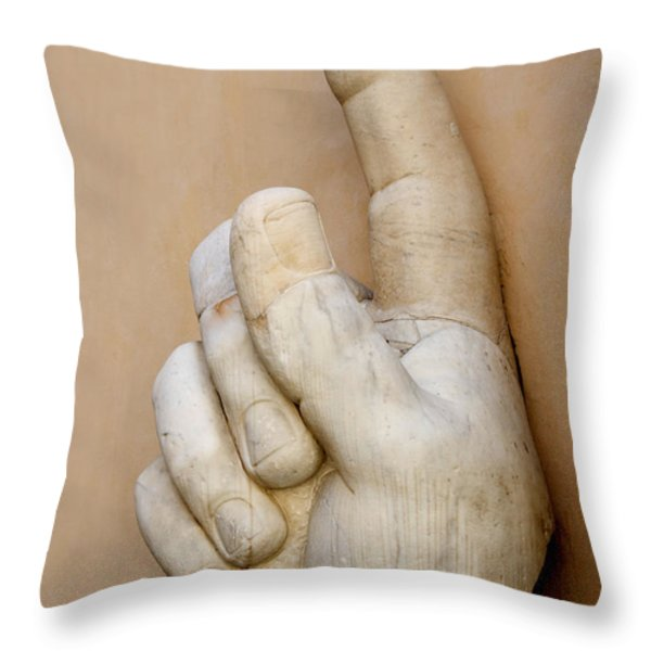 Hand with pointing index finger. statue of Constantine. Palazzo dei Conservatori. Capitoline Museums Throw Pillow by BERNARD JAUBERT