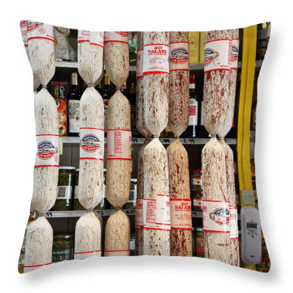 Hanging Salami Throw Pillow by Wingsdomain Art and Photography