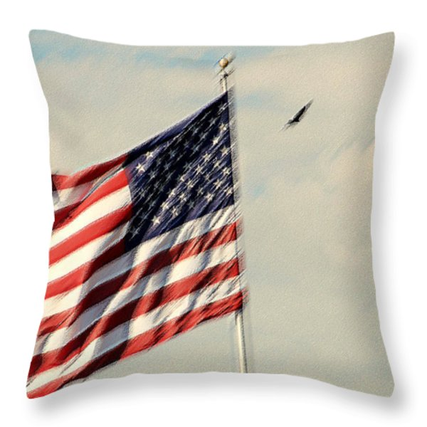 Happy Birthday America Throw Pillow by Susanne Van Hulst