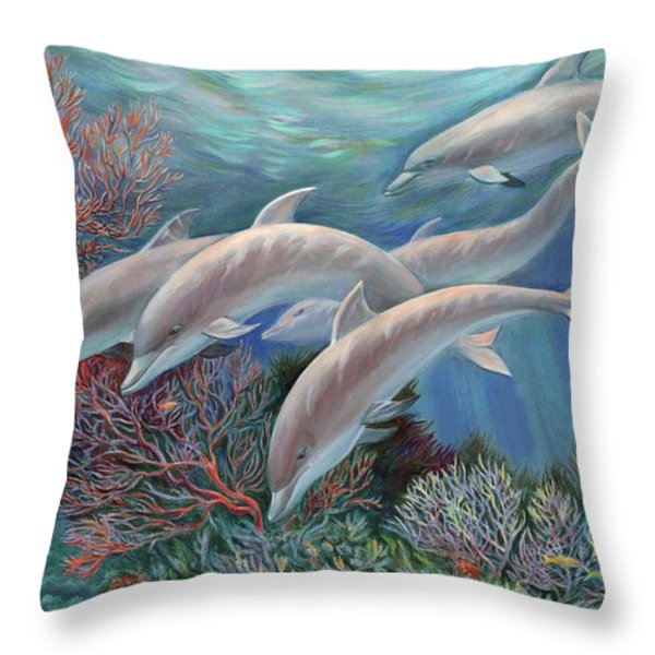 Happy Family - Dolphins Are Awesome Throw Pillow by Svitozar Nenyuk