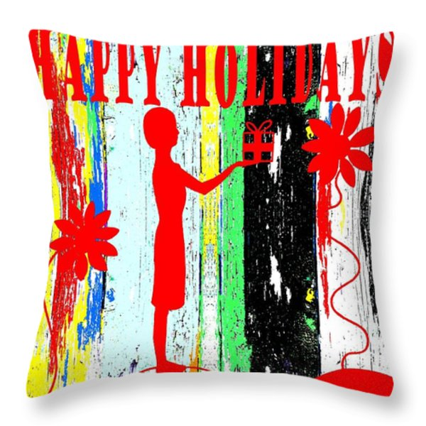 Happy Holidays 62 Throw Pillow by Patrick J Murphy