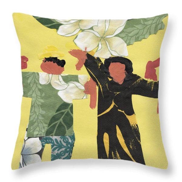 Happy People Throw Pillow by Katie OBrien - Printscapes