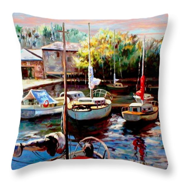 Harbor Sailboats At Rest Throw Pillow by Ronald Chambers