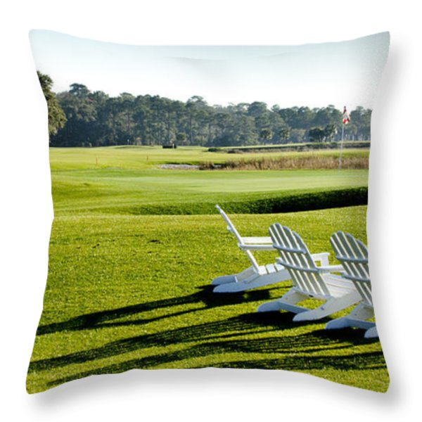 Harbor Town at Seapines 18th Hole Throw Pillow by Dustin K Ryan