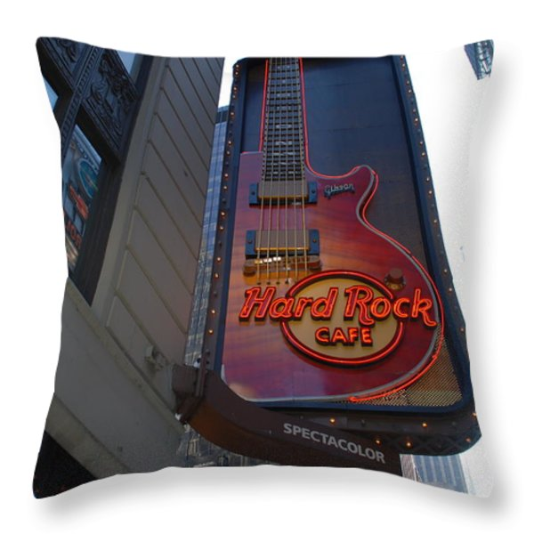 Hard Rock Cafe N Y C Throw Pillow by Rob Hans