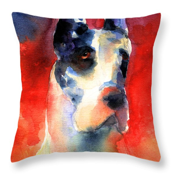 Harlequin Great dane watercolor painting Throw Pillow by Svetlana Novikova
