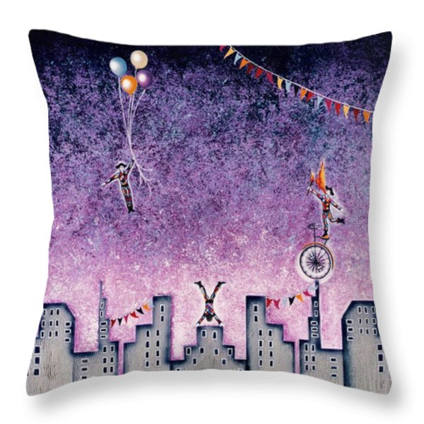 Harlequins Festival Throw Pillow by Graciela Bello