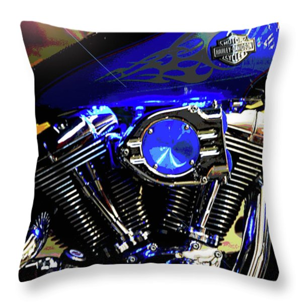 Harleys Twins Throw Pillow by DigiArt Diaries by Vicky B Fuller