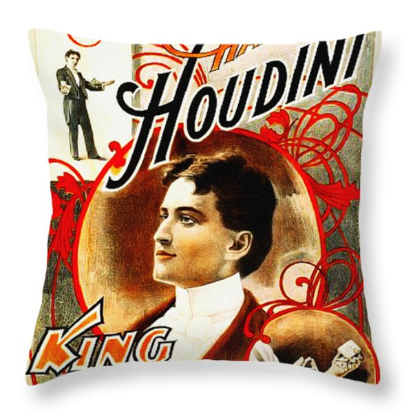 Harry Houdini - King of Cards Throw Pillow by Digital Reproductions