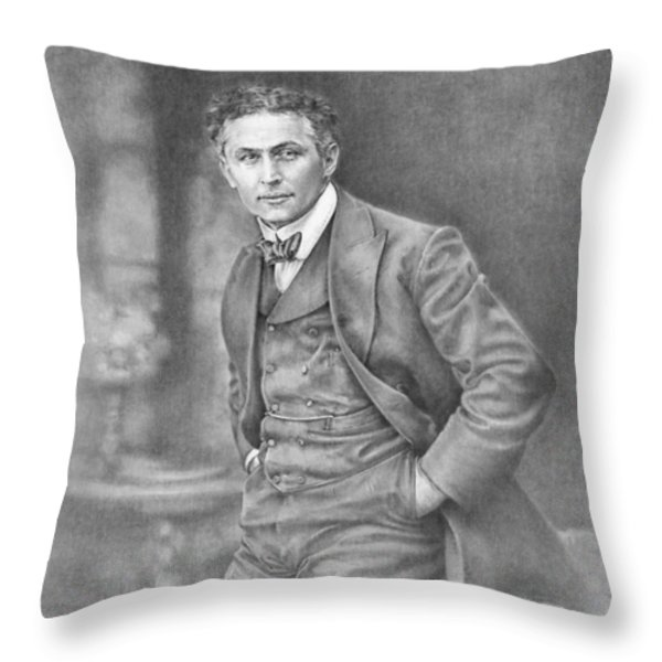Harry Houdini Throw Pillow by Steven Paul Carlson