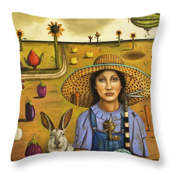 Harvey and The Eccentric Farmer Throw Pillow by Leah Saulnier The Painting Maniac