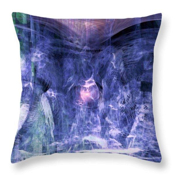 Haunted Caves Throw Pillow by Linda Sannuti