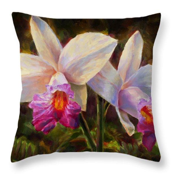 Hawaiian Bamboo Orchid Throw Pillow by Karen Whitworth