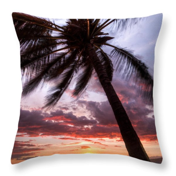 Hawaiian Coconut Palm Sunset Throw Pillow by Dustin K Ryan