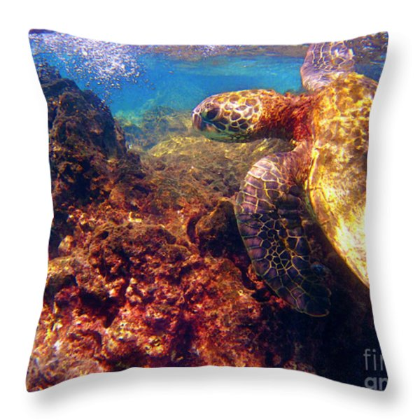 Hawaiian Sea Turtle - On The Reef Throw Pillow by Bette Phelan