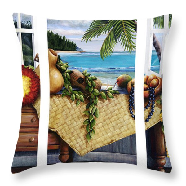Hawaiian Still Life with Haleiwa on My Mind Throw Pillow by Sandra Blazel - Printscapes