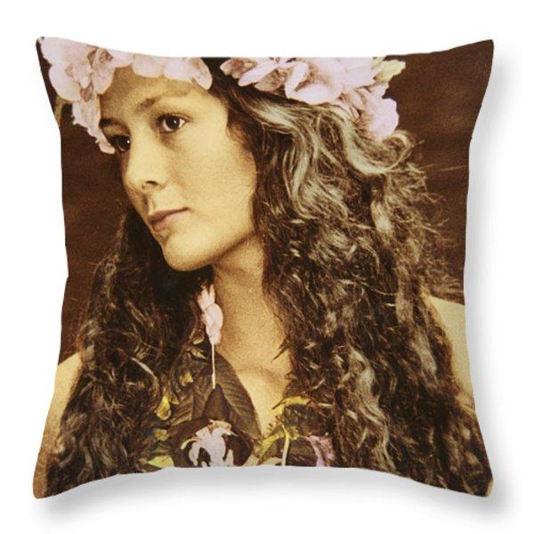 Hawaiian Wahine Throw Pillow by Himani - Printscapes