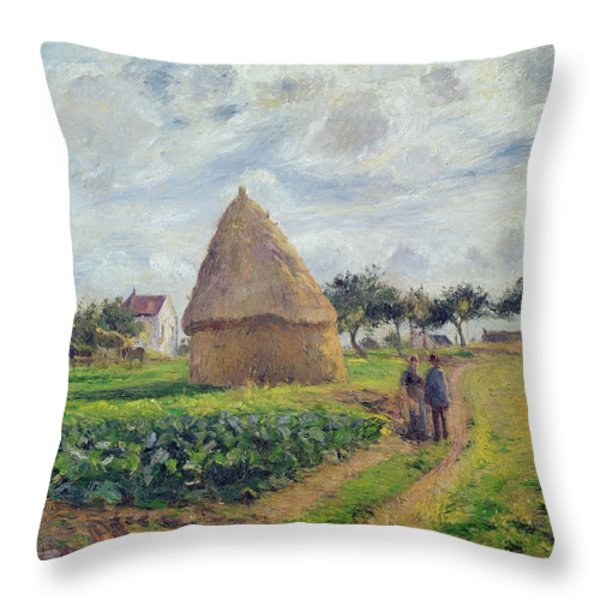 Haystacks Throw Pillow by Camille Pissarro