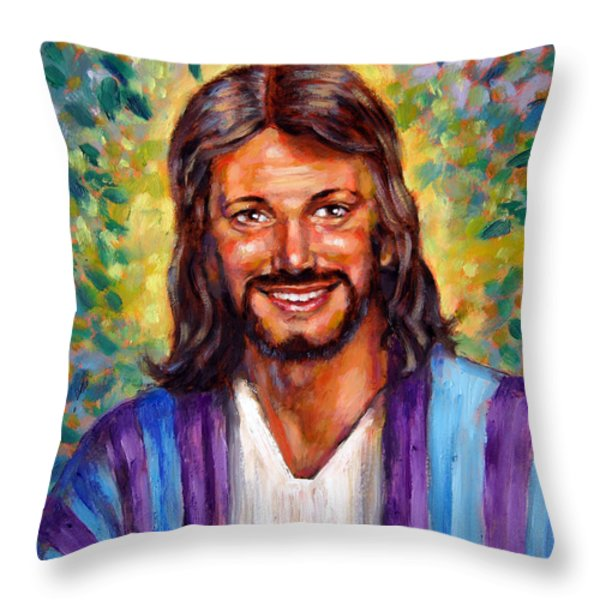 He Smiles Throw Pillow by John Lautermilch