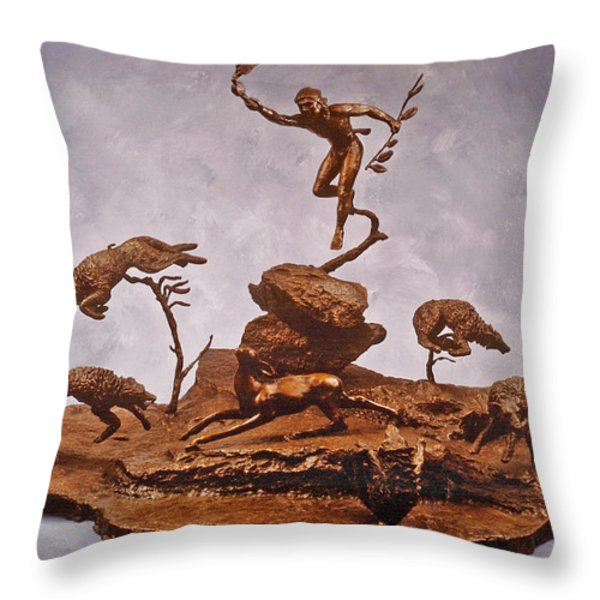 He Who Saved the Deer complete Throw Pillow by Dawn Senior-Trask and Willoughby Senior