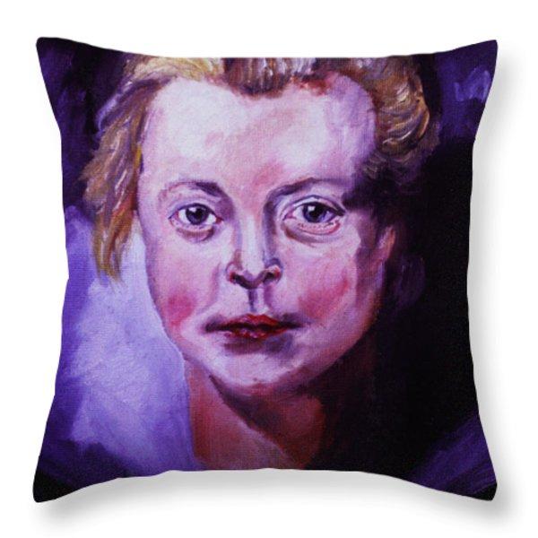 Head Of A Girl  - Peter Paul Rubens Throw Pillow by John Keaton