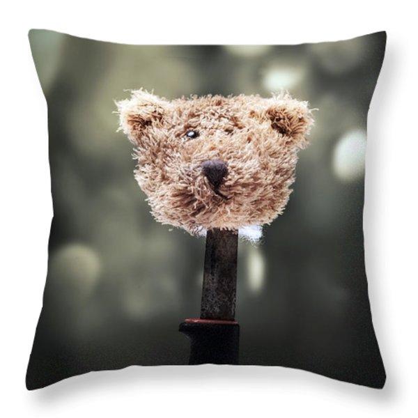 Head Of A Teddy Throw Pillow by Joana Kruse