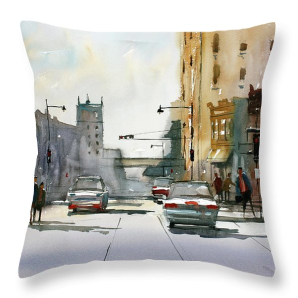 Heading West on College Avenue - Appleton Throw Pillow by Ryan Radke