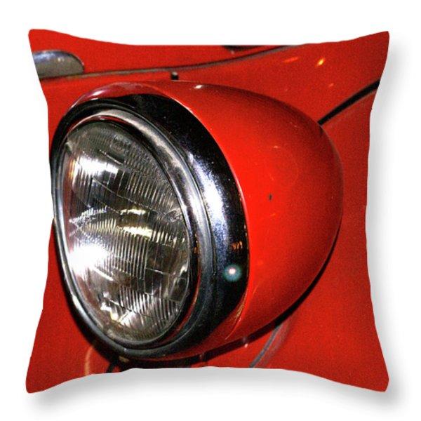 Headlamp on Red Firetruck Throw Pillow by Douglas Barnett