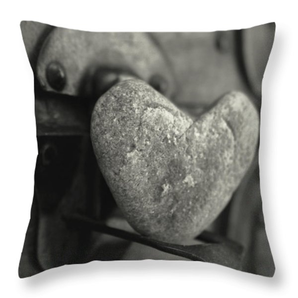 Heart Rock Throw Pillow by Toni Hopper