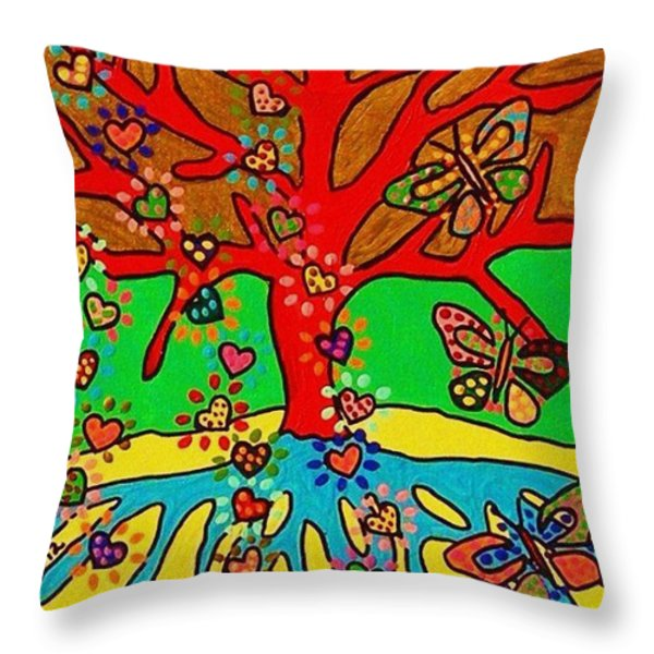 Hearts Grow Into Butterflies Throw Pillow by Sandra Silberzweig