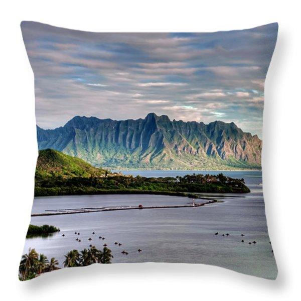 He'eia Fish Pond and Kualoa Throw Pillow by Dan McManus