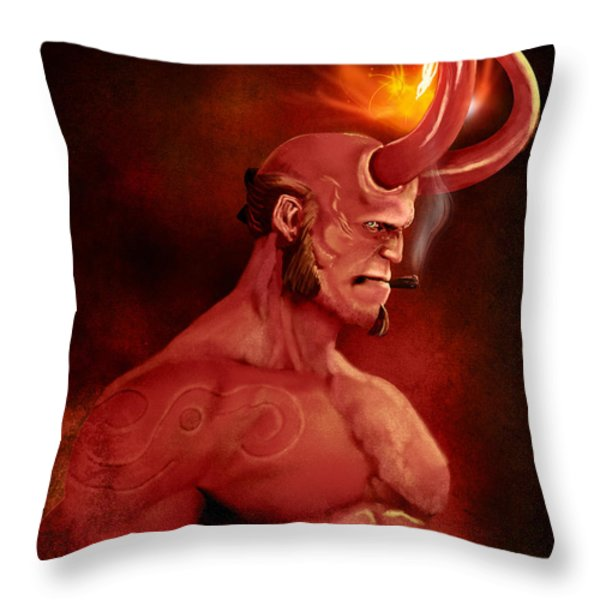 Hellboy Throw Pillow by Jason Longstreet