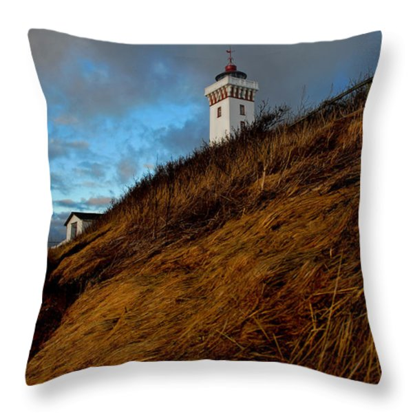 Helnaes Lighthouse Throw Pillow by Robert Lacy