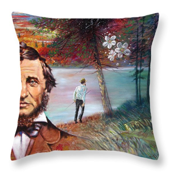 Henry David Thoreau Throw Pillow by John Lautermilch