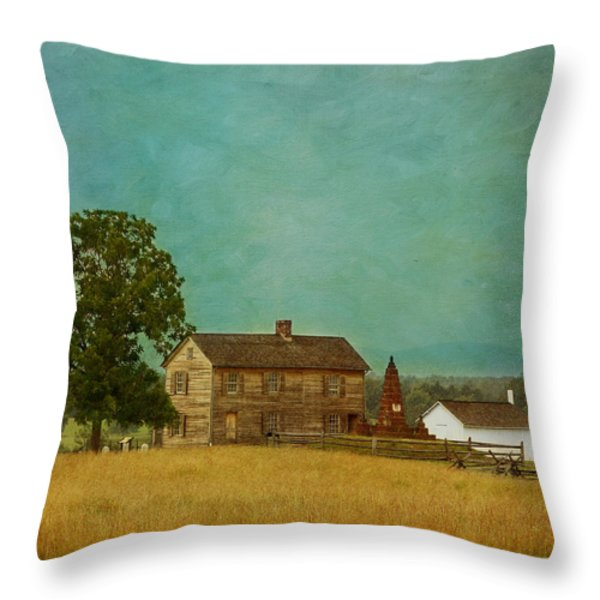 Henry House at Manassas Battlefield Park Throw Pillow by Kim Hojnacki