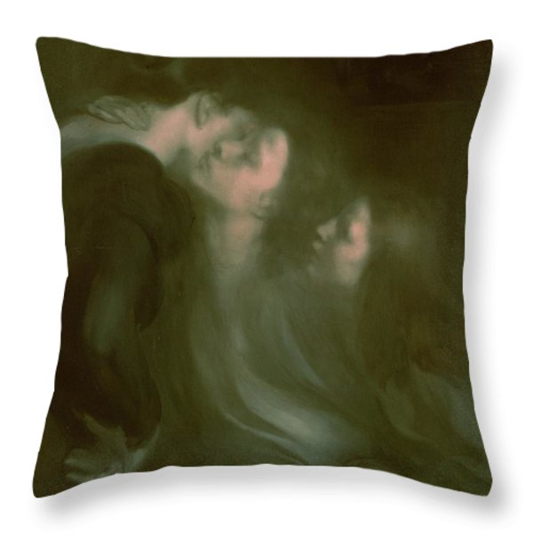 Her Mother's Kiss Throw Pillow by Eugene Carriere