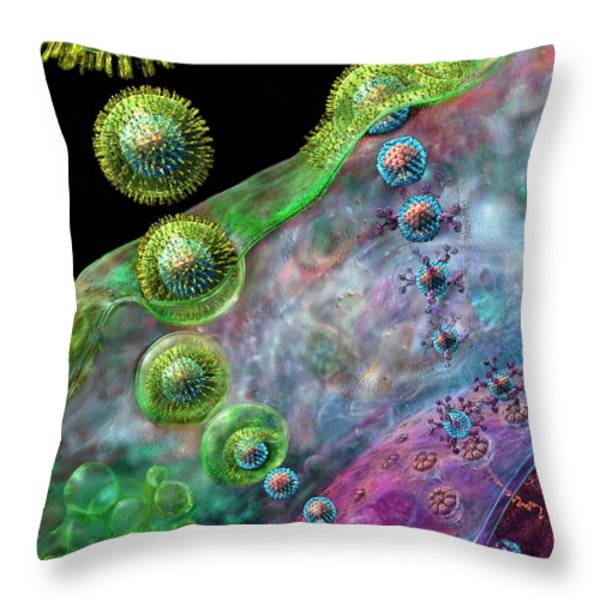 Herpes Virus Replication Throw Pillow by Russell Kightley