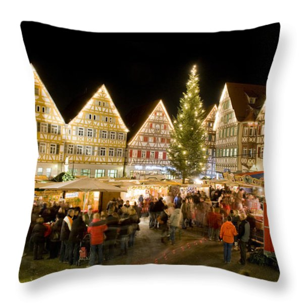 Herrenberg Christmas Market At Night Throw Pillow by Greg Dale