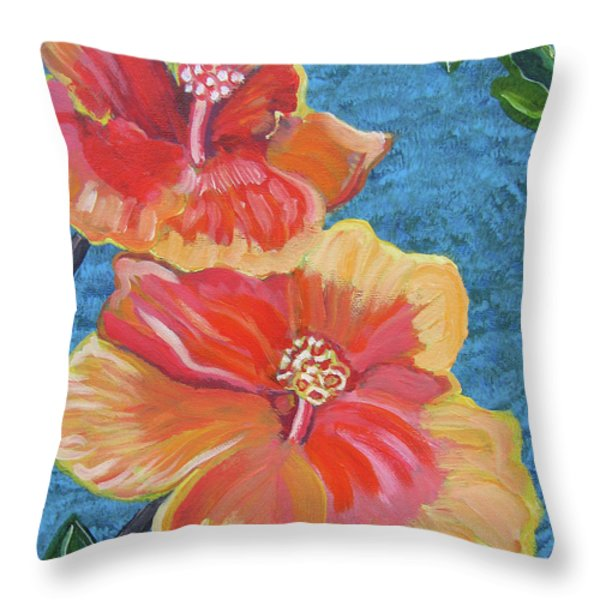 Hibiscus Flowers Throw Pillow by John Keaton