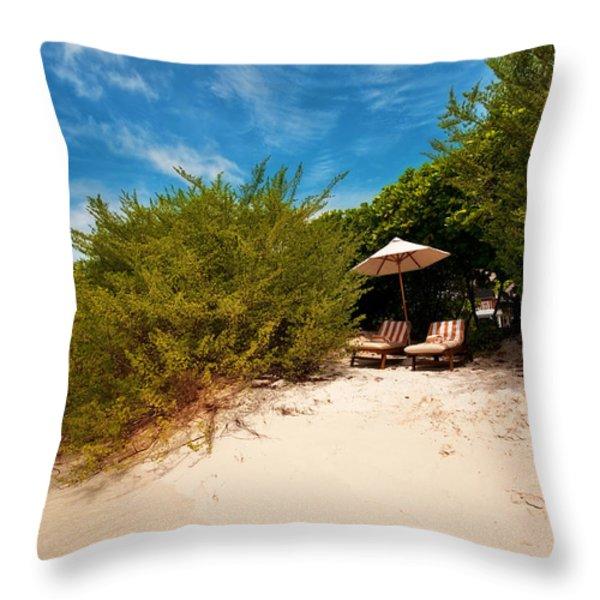 Hideaway. Maldivian Beach Throw Pillow by Jenny Rainbow