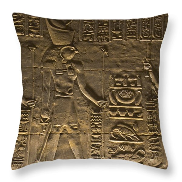 Hieroglyph at Edfu Throw Pillow by Darcy Michaelchuk