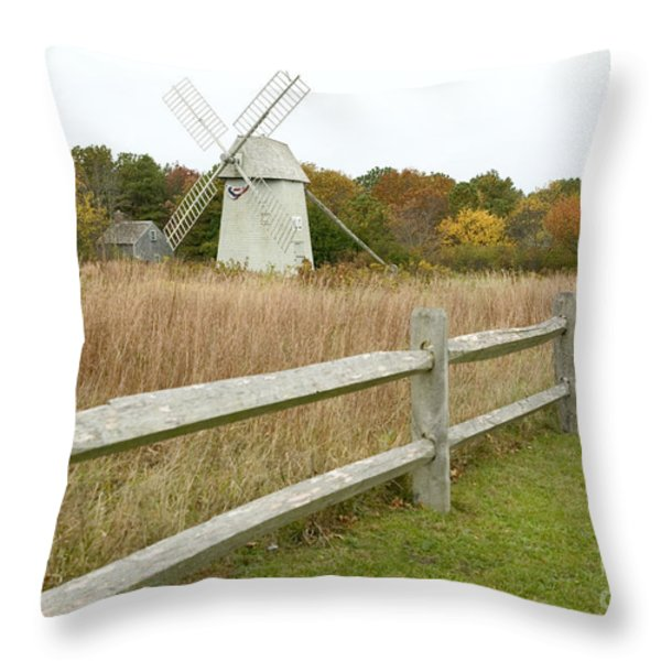 Higgins Farm Windmill Brewster Cape Cod Throw Pillow by Matt Suess