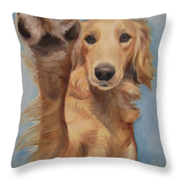 High Five Throw Pillow by Jindra Noewi
