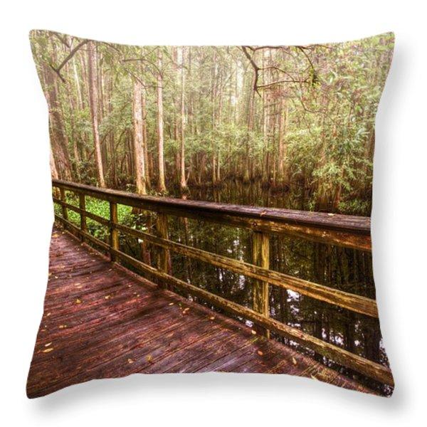 Highlands Hammock Throw Pillow by Debra and Dave Vanderlaan